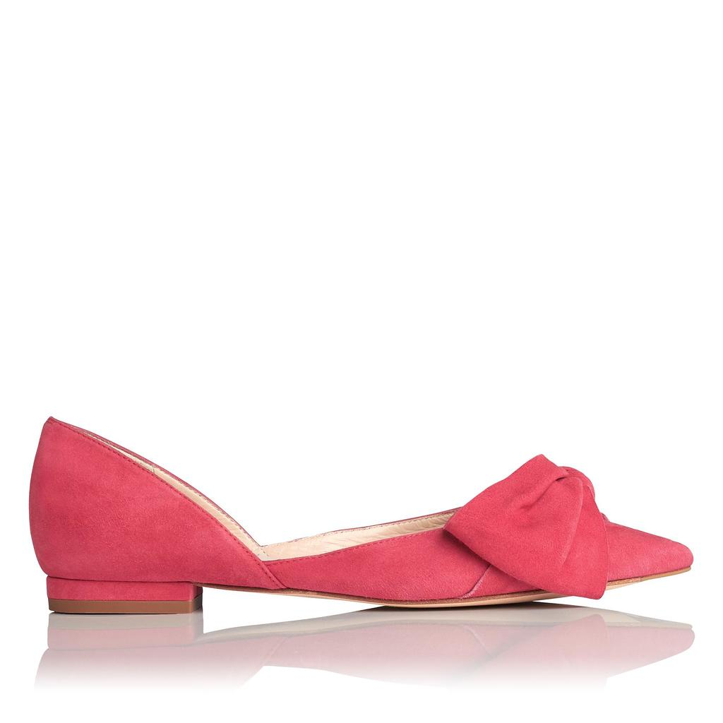 Clio Red Suede Flats - predominant colour: true red; occasions: casual, creative work; material: suede; heel height: flat; toe: pointed toe; style: ballerinas / pumps; finish: plain; pattern: plain; embellishment: bow; season: s/s 2016; wardrobe: highlight