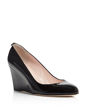Amory Wedge Pumps - predominant colour: black; occasions: work; material: leather; heel height: high; heel: wedge; toe: pointed toe; style: courts; finish: patent; pattern: plain; season: s/s 2016; wardrobe: investment