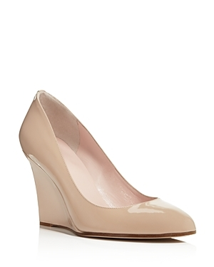 Amory Wedge Pumps - predominant colour: nude; occasions: evening, work, occasion; material: leather; heel height: high; heel: wedge; toe: pointed toe; style: courts; finish: patent; pattern: plain; season: s/s 2016; wardrobe: investment
