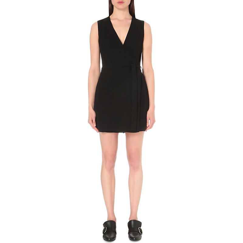 Benina Crepe Playsuit, Women's, Black - neckline: low v-neck; fit: tailored/fitted; pattern: plain; sleeve style: sleeveless; waist detail: belted waist/tie at waist/drawstring; length: mid thigh shorts; predominant colour: black; occasions: evening; fibres: polyester/polyamide - mix; sleeve length: sleeveless; texture group: crepes; style: playsuit; pattern type: fabric; season: s/s 2016; wardrobe: event