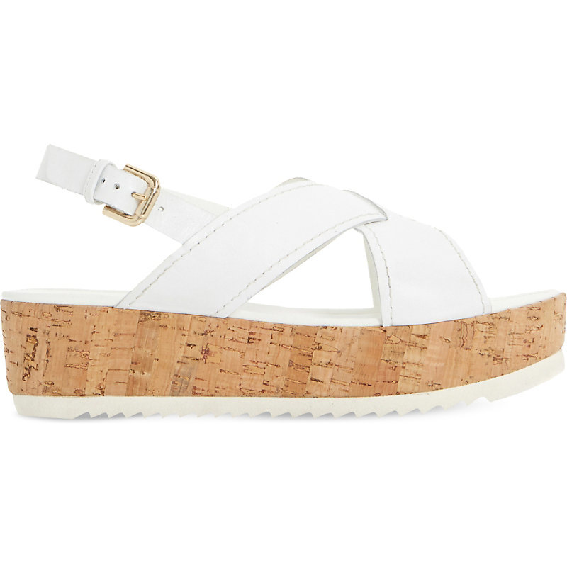 Kraft Leather Cross Strap Flatform Sandals, Women's, Eur 41 / 8 Uk Women, White Leather - predominant colour: white; occasions: casual; material: leather; heel height: mid; heel: standard; toe: open toe/peeptoe; style: standard; finish: plain; pattern: plain; shoe detail: platform; season: s/s 2016; wardrobe: investment