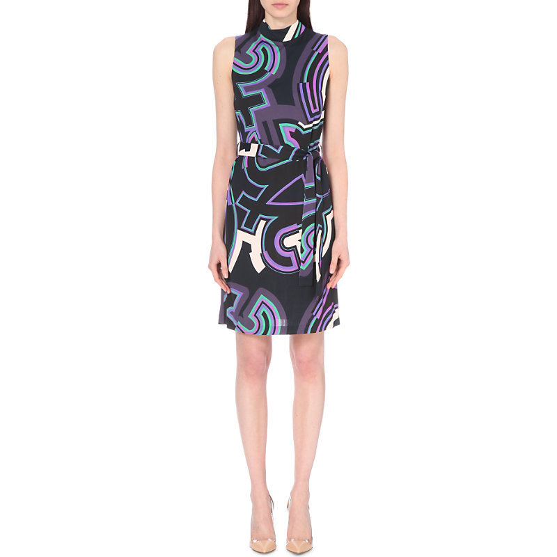 Monogram Print Silk Crepe Dress, Women's, Purple/Brown - style: shift; sleeve style: sleeveless; neckline: high neck; waist detail: belted waist/tie at waist/drawstring; secondary colour: purple; predominant colour: black; occasions: evening; length: just above the knee; fit: body skimming; fibres: silk - 100%; sleeve length: sleeveless; texture group: crepes; pattern type: fabric; pattern: patterned/print; multicoloured: multicoloured; season: s/s 2016; wardrobe: event