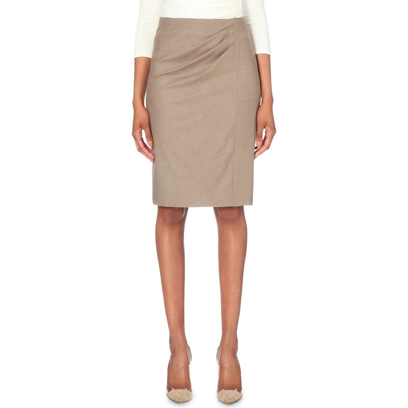 Pleated Wool Pencil Skirt, Women's, Turtle Dove - pattern: plain; style: pencil; fit: tailored/fitted; waist: high rise; predominant colour: taupe; occasions: work; length: on the knee; fibres: wool - 100%; pattern type: fabric; texture group: woven light midweight; season: s/s 2016; wardrobe: basic
