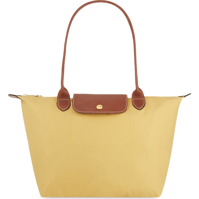 Le Pliage Small Shopper, Women's, Curry - predominant colour: primrose yellow; secondary colour: camel; occasions: casual; type of pattern: standard; style: tote; length: shoulder (tucks under arm); size: standard; material: fabric; pattern: plain; finish: plain; season: s/s 2016; wardrobe: highlight