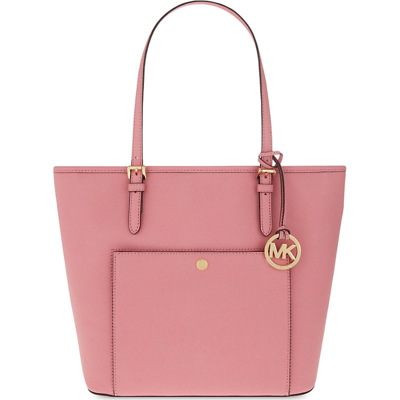 Jet Set Item Large Saffiano Leather Tote, Women's, Misty Rose - predominant colour: pink; type of pattern: standard; style: tote; length: shoulder (tucks under arm); size: standard; material: leather; pattern: plain; finish: plain; occasions: creative work; season: s/s 2016; wardrobe: highlight