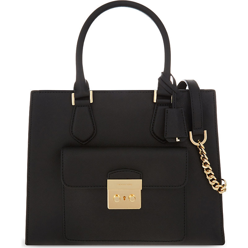 Bridgette Medium Leather Tote, Women's, Black - predominant colour: black; occasions: casual, creative work; type of pattern: standard; style: tote; length: handle; size: standard; material: leather; pattern: plain; finish: plain; season: s/s 2016; wardrobe: investment