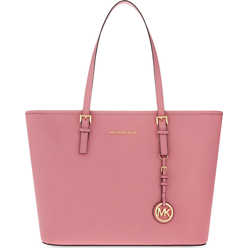 Jet Set Travel Saffiano Leather Tote, Women's, Misty Rose - predominant colour: pink; occasions: casual, creative work; type of pattern: standard; style: tote; length: handle; size: oversized; material: leather; pattern: plain; finish: plain; season: s/s 2016; wardrobe: highlight