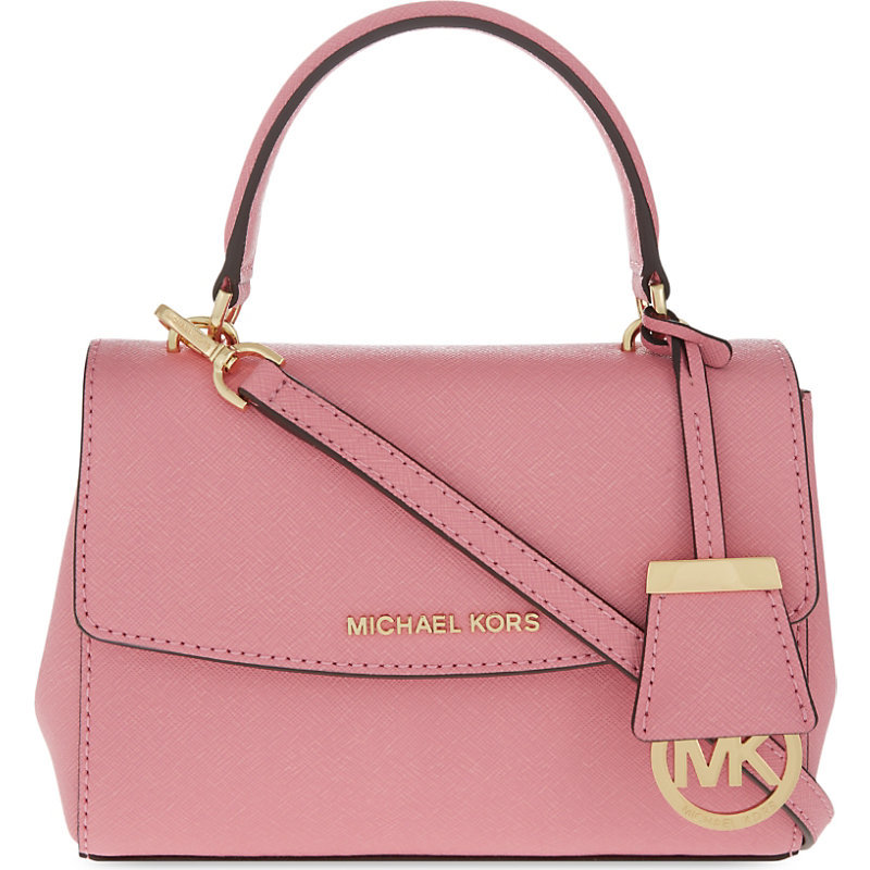 Ava Extra Small Saffiano Leather Cross Body Bag, Women's, Size: Xs, Misty Rose - predominant colour: pink; occasions: casual, creative work; type of pattern: standard; style: tote; length: handle; size: standard; material: leather; pattern: plain; finish: plain; season: s/s 2016; wardrobe: highlight