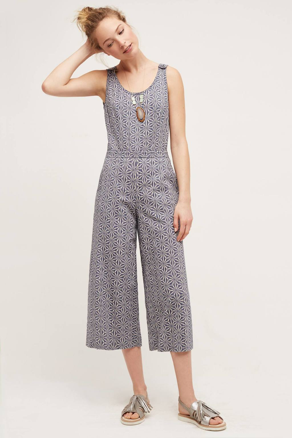Windward Jumpsuit - neckline: round neck; sleeve style: sleeveless; predominant colour: denim; occasions: casual; length: calf length; fit: body skimming; fibres: cotton - mix; sleeve length: sleeveless; style: jumpsuit; pattern type: fabric; pattern: patterned/print; texture group: other - light to midweight; season: s/s 2016; wardrobe: highlight