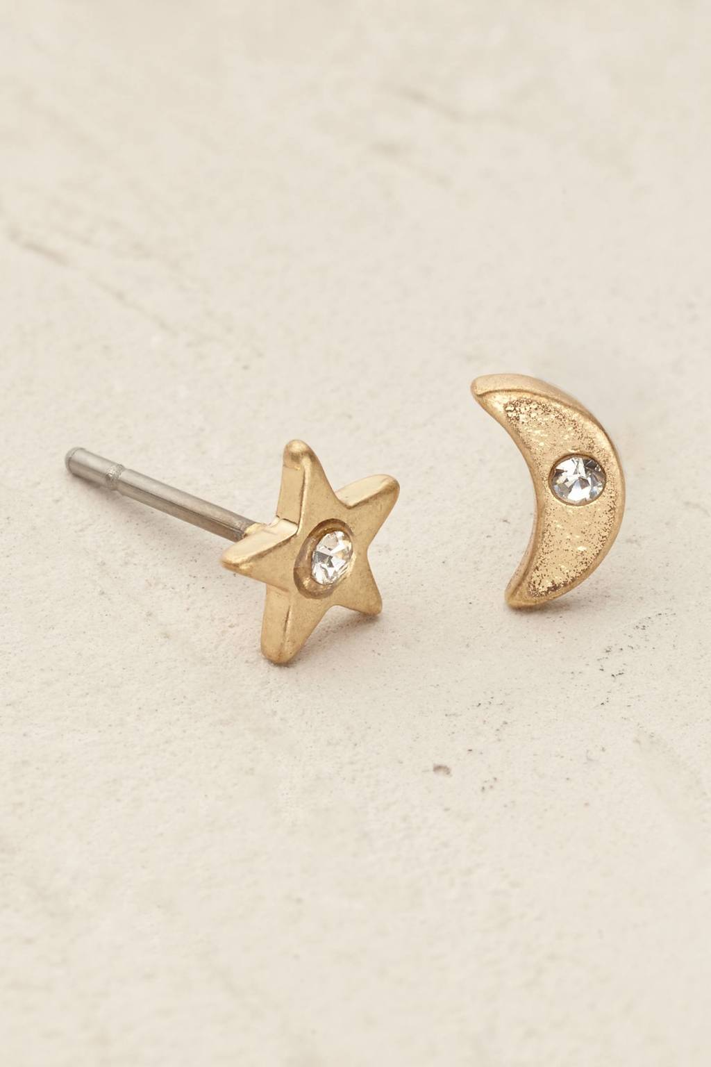 Starry Night Earrings - predominant colour: gold; occasions: casual, creative work; style: stud; length: short; size: small/fine; material: chain/metal; fastening: pierced; finish: plain; embellishment: crystals/glass; season: s/s 2016; wardrobe: basic