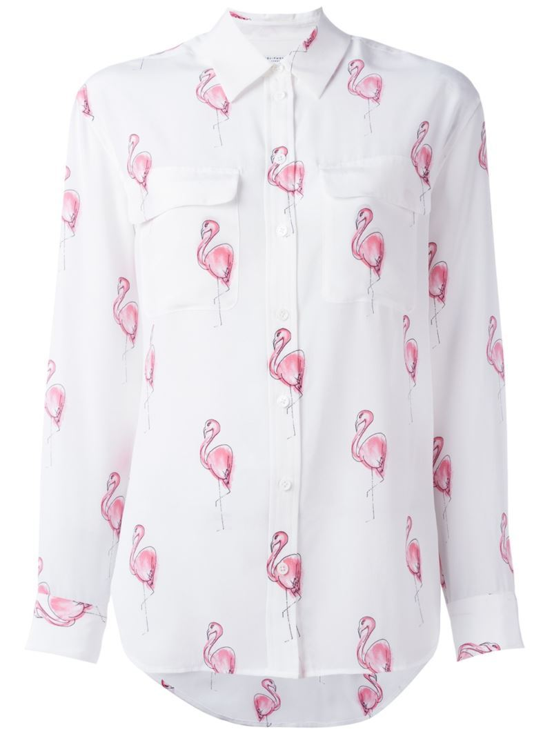 Flamingo Print Shirt, Women's, Size: Small, White - neckline: shirt collar/peter pan/zip with opening; style: shirt; predominant colour: white; secondary colour: hot pink; occasions: casual, creative work; length: standard; fibres: silk - 100%; fit: body skimming; sleeve length: long sleeve; sleeve style: standard; texture group: silky - light; pattern type: fabric; pattern size: standard; pattern: patterned/print; multicoloured: multicoloured; season: s/s 2016; wardrobe: highlight