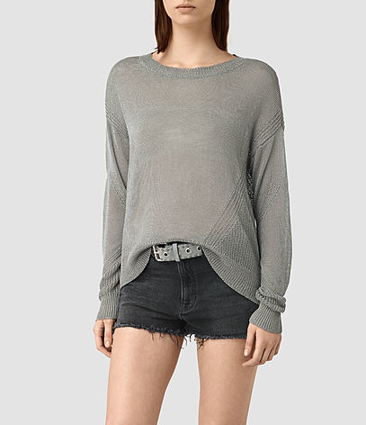 Metal Jumper - neckline: round neck; sleeve style: dolman/batwing; pattern: plain; style: standard; predominant colour: mid grey; occasions: casual, work, creative work; length: standard; fit: standard fit; sleeve length: long sleeve; texture group: knits/crochet; pattern type: knitted - fine stitch; fibres: viscose/rayon - mix; season: s/s 2016; wardrobe: basic
