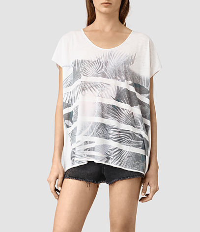 Java Ole Tee - sleeve style: capped; pattern: horizontal stripes; length: below the bottom; style: t-shirt; predominant colour: white; secondary colour: black; occasions: casual, creative work; neckline: scoop; fibres: cotton - mix; fit: loose; sleeve length: short sleeve; pattern type: fabric; texture group: jersey - stretchy/drapey; pattern size: big & busy (top); season: s/s 2016; wardrobe: basic
