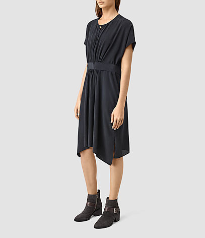 Nevis Silk Dress - neckline: round neck; fit: fitted at waist; pattern: plain; bust detail: subtle bust detail; predominant colour: navy; occasions: casual, creative work; length: just above the knee; style: asymmetric (hem); fibres: silk - 100%; hip detail: subtle/flattering hip detail; sleeve length: short sleeve; sleeve style: standard; pattern type: fabric; texture group: other - light to midweight; season: s/s 2016; wardrobe: basic