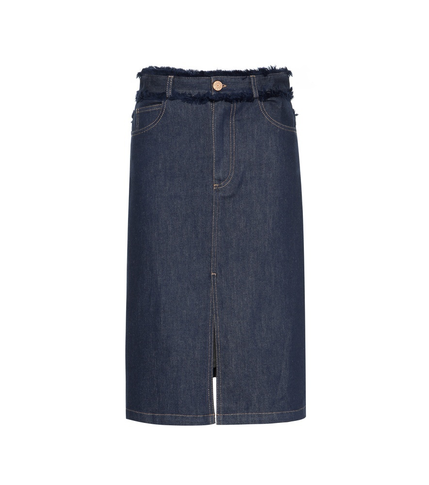Frayed Denim Skirt - pattern: plain; style: straight; waist: high rise; predominant colour: navy; occasions: casual; length: on the knee; fibres: cotton - stretch; texture group: denim; fit: straight cut; pattern type: fabric; season: s/s 2016; wardrobe: basic