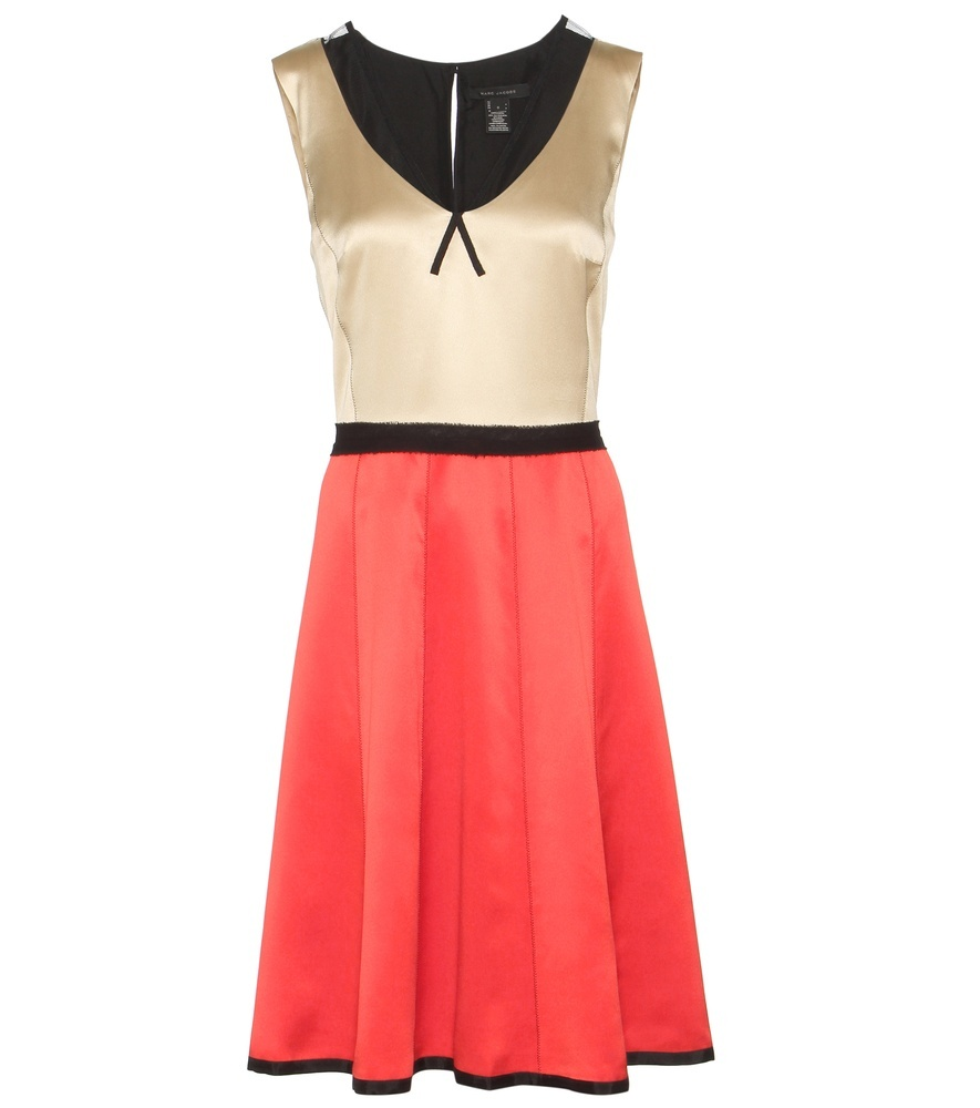 Silk Dress - neckline: v-neck; sleeve style: sleeveless; predominant colour: bright orange; secondary colour: coral; occasions: evening; length: on the knee; fit: fitted at waist & bust; style: fit & flare; fibres: silk - 100%; sleeve length: sleeveless; texture group: silky - light; pattern type: fabric; pattern: colourblock; season: s/s 2016; wardrobe: event