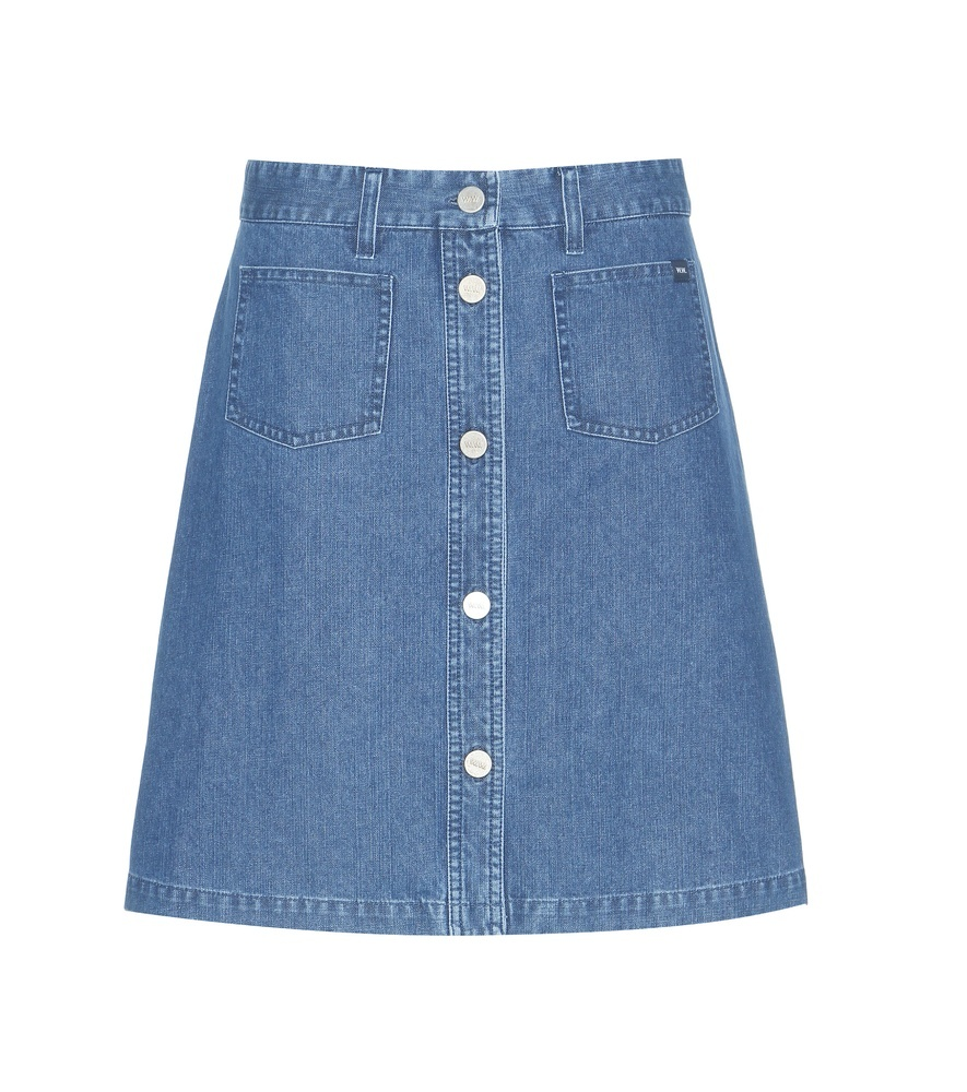 Denim Miniskirt - length: mid thigh; pattern: plain; fit: loose/voluminous; waist: high rise; predominant colour: denim; occasions: casual; style: a-line; fibres: cotton - stretch; texture group: denim; pattern type: fabric; season: s/s 2016