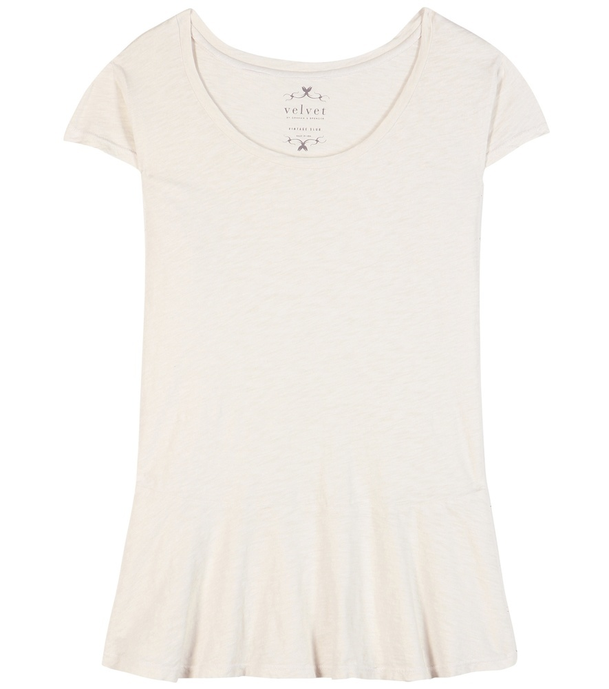 Itzel Cotton Peplum Top - neckline: round neck; sleeve style: capped; pattern: plain; waist detail: peplum waist detail; predominant colour: ivory/cream; occasions: casual; length: standard; style: top; fibres: cotton - 100%; fit: body skimming; sleeve length: short sleeve; pattern type: fabric; texture group: jersey - stretchy/drapey; season: s/s 2016; wardrobe: basic