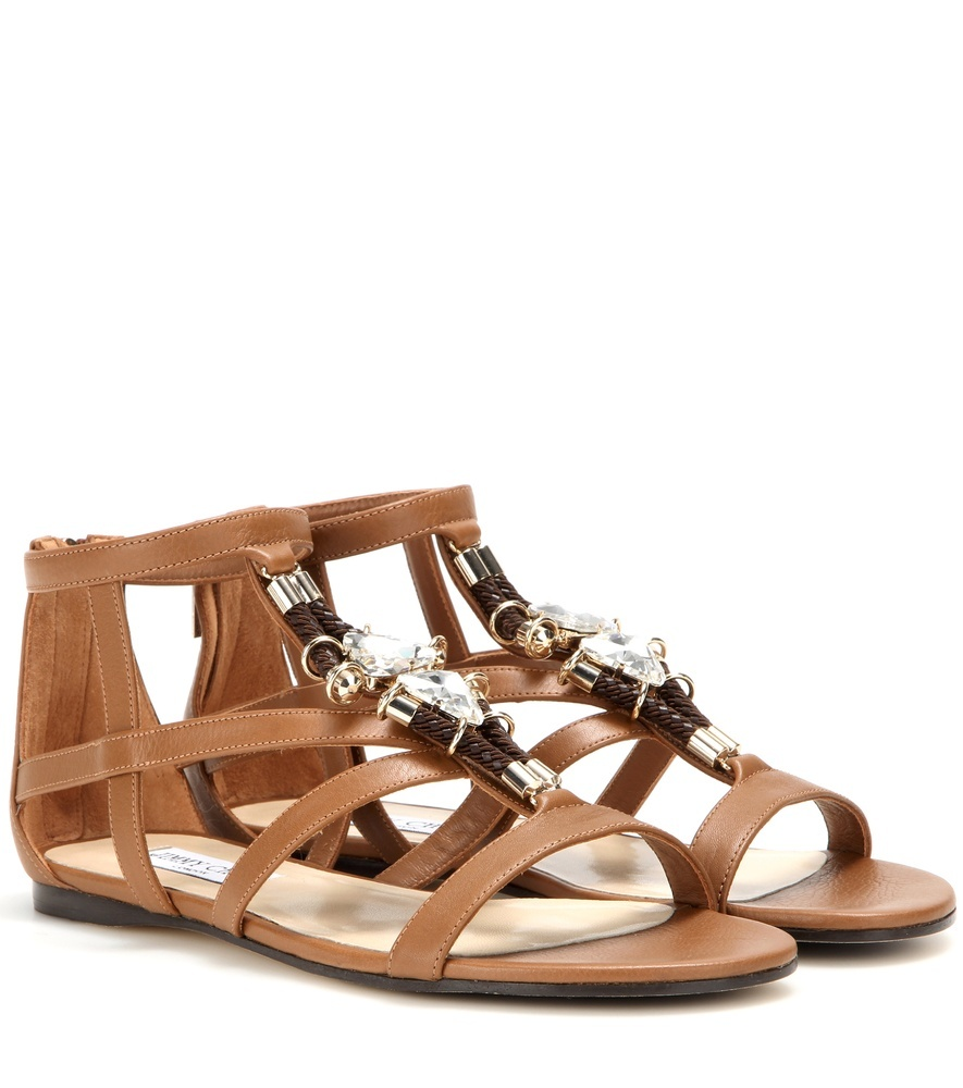 Nano Flat Embellished Leather Sandals - predominant colour: tan; occasions: casual, holiday; material: leather; heel height: flat; ankle detail: ankle strap; heel: block; toe: open toe/peeptoe; style: gladiators; finish: plain; pattern: plain; embellishment: chain/metal; season: s/s 2016; wardrobe: highlight