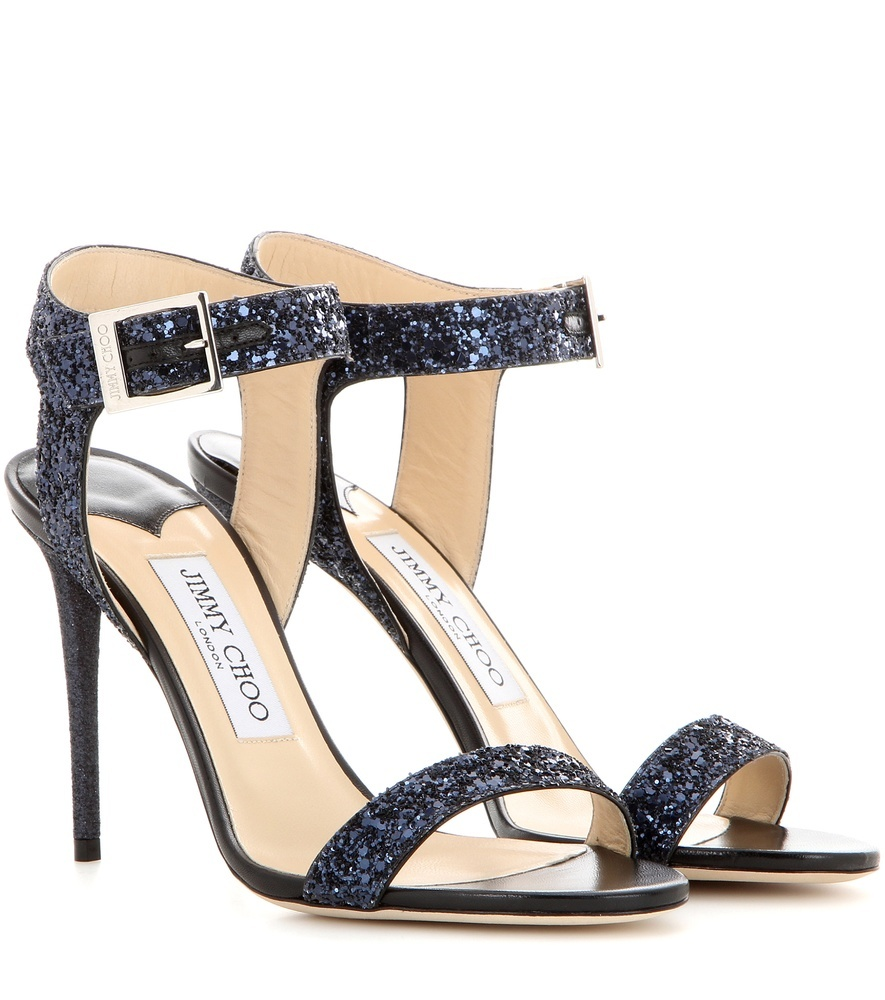 Truce 100 Glitter Sandals - predominant colour: navy; occasions: evening, occasion; material: leather; heel height: high; embellishment: glitter; ankle detail: ankle strap; heel: stiletto; toe: open toe/peeptoe; style: strappy; finish: metallic; pattern: plain; season: s/s 2016; wardrobe: event