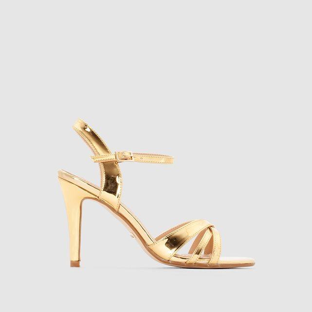 312703 High Heeled Open Toe Sandals - predominant colour: gold; occasions: evening, occasion; material: faux leather; heel height: high; ankle detail: ankle strap; heel: stiletto; toe: open toe/peeptoe; style: strappy; finish: metallic; pattern: plain; season: s/s 2016
