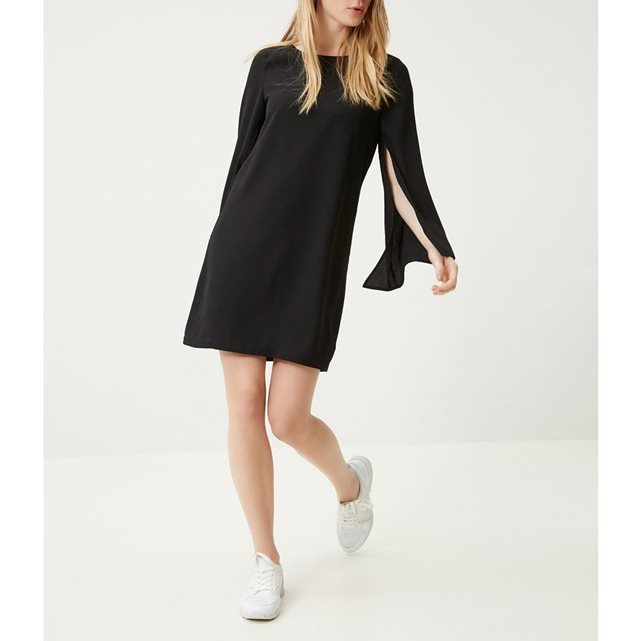 Cutaway Sleeve Boho Dress - style: shift; sleeve style: open slash; pattern: plain; predominant colour: black; occasions: evening; length: just above the knee; fit: body skimming; fibres: polyester/polyamide - 100%; neckline: crew; sleeve length: long sleeve; pattern type: fabric; texture group: other - light to midweight; season: s/s 2016; wardrobe: event