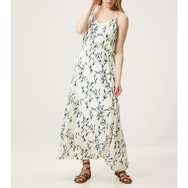 Long Dress With Fine Straps - neckline: low v-neck; sleeve style: spaghetti straps; style: maxi dress; length: ankle length; predominant colour: ivory/cream; secondary colour: mid grey; occasions: evening; fit: body skimming; fibres: viscose/rayon - 100%; sleeve length: sleeveless; pattern type: fabric; pattern: patterned/print; texture group: jersey - stretchy/drapey; season: s/s 2016; wardrobe: event