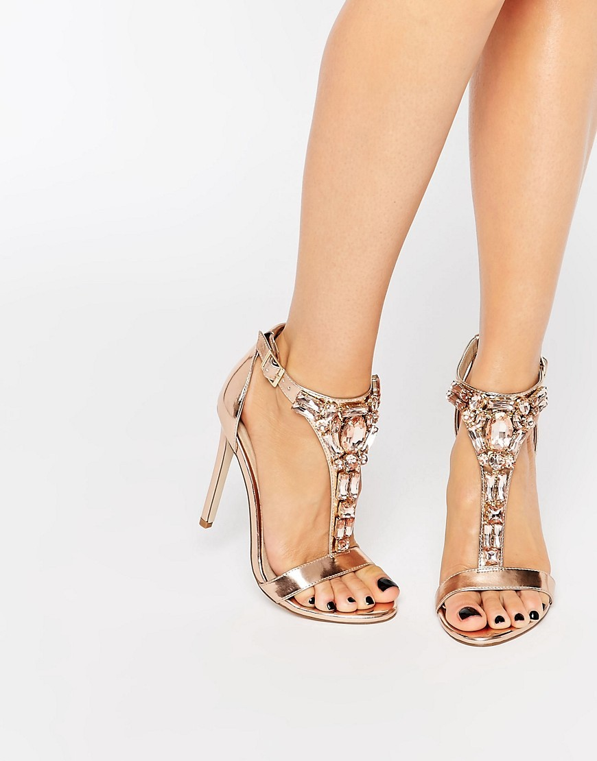 Heighten Embellished Heeled Sandals Nude Metallic - predominant colour: bronze; occasions: evening, occasion; material: faux leather; heel height: high; embellishment: jewels/stone; ankle detail: ankle strap; heel: stiletto; toe: open toe/peeptoe; style: strappy; finish: metallic; pattern: plain; season: s/s 2016; wardrobe: event