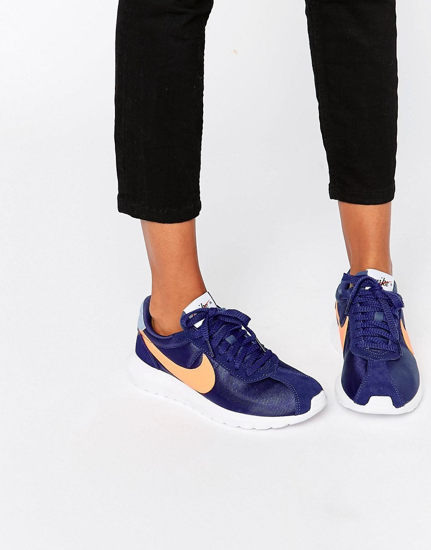 Blue Roshe Ld1000 Trainers Lyl Bl/Brght Mng Whi - predominant colour: royal blue; occasions: casual, activity; material: fabric; heel height: flat; toe: round toe; style: trainers; finish: plain; pattern: plain; season: s/s 2016