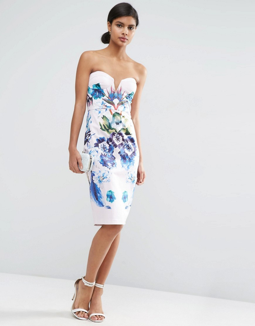Placed Blue Floral Cup Bandeau Midi Pencil Dress Multi - style: shift; fit: tailored/fitted; sleeve style: strapless; neckline: sweetheart; predominant colour: white; secondary colour: royal blue; occasions: evening; length: on the knee; fibres: cotton - stretch; sleeve length: sleeveless; pattern type: fabric; pattern: florals; texture group: other - light to midweight; multicoloured: multicoloured; season: s/s 2016; wardrobe: event