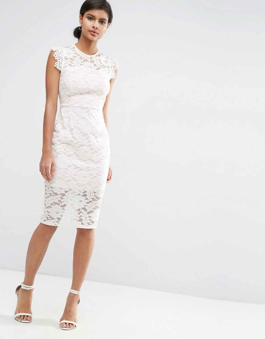 Lace Pencil Dress With Contrast Lining Cream - fit: tight; sleeve style: sleeveless; style: bodycon; bust detail: sheer at bust; predominant colour: ivory/cream; occasions: evening; length: on the knee; fibres: cotton - mix; neckline: crew; sleeve length: sleeveless; texture group: lace; pattern type: fabric; pattern: patterned/print; season: s/s 2016; wardrobe: event