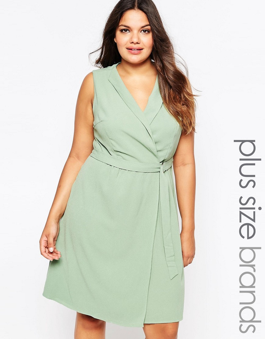 Plus Wrap Dress Mint - style: faux wrap/wrap; neckline: v-neck; pattern: plain; sleeve style: sleeveless; waist detail: belted waist/tie at waist/drawstring; predominant colour: pistachio; occasions: evening; length: on the knee; fit: body skimming; fibres: polyester/polyamide - 100%; sleeve length: sleeveless; pattern type: fabric; texture group: other - light to midweight; season: s/s 2016; wardrobe: event