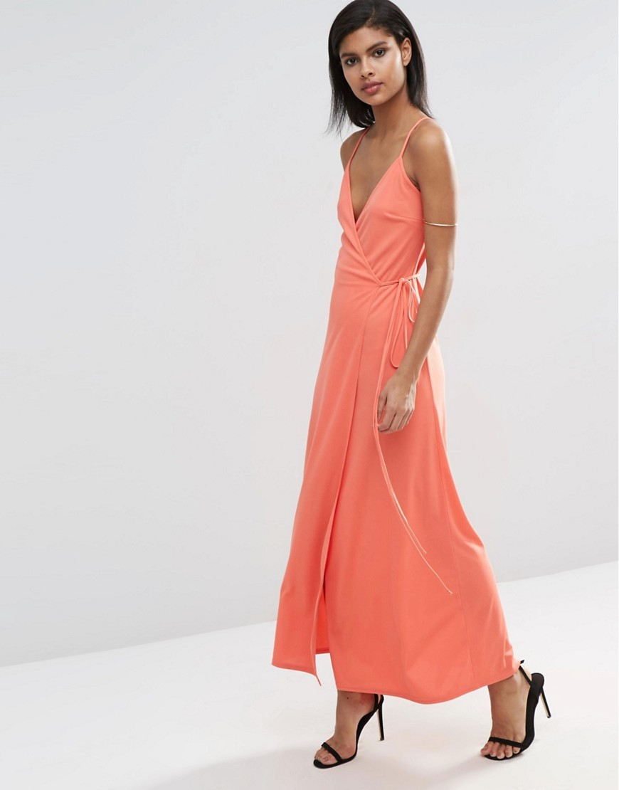 Wrap Cami Maxi Dress Coral - style: faux wrap/wrap; neckline: low v-neck; pattern: plain; sleeve style: sleeveless; length: ankle length; predominant colour: coral; occasions: evening; fit: body skimming; fibres: polyester/polyamide - 100%; sleeve length: sleeveless; pattern type: fabric; texture group: jersey - stretchy/drapey; season: s/s 2016; wardrobe: event