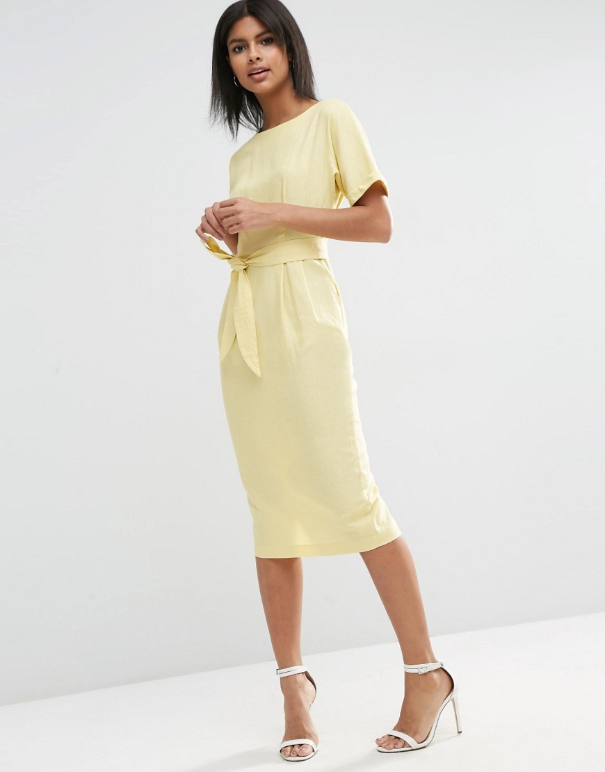 Belted Wiggle Dress In Linen Lemon - style: shift; length: calf length; pattern: plain; waist detail: belted waist/tie at waist/drawstring; predominant colour: primrose yellow; occasions: evening; fit: body skimming; fibres: linen - 100%; neckline: crew; sleeve length: short sleeve; sleeve style: standard; pattern type: fabric; texture group: other - light to midweight; season: s/s 2016; wardrobe: event