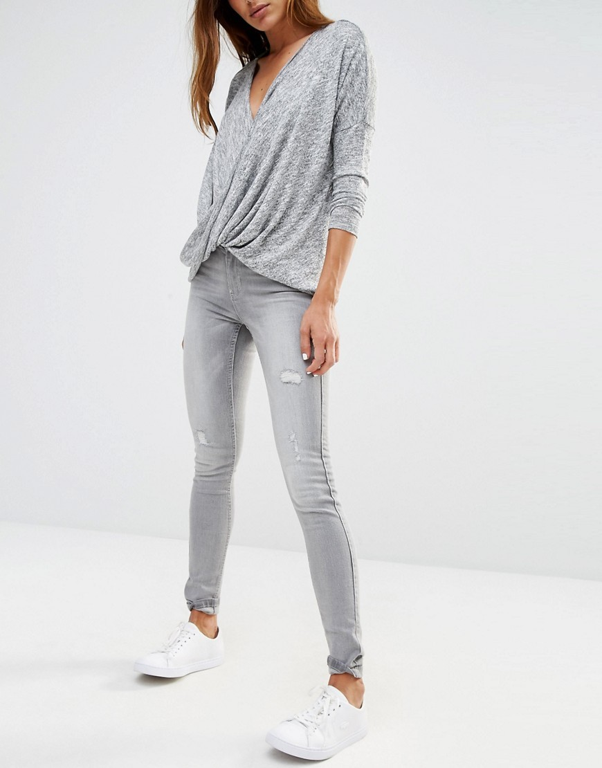 Extreme Lucy Destroyed Skinny Jeans Grey - style: skinny leg; length: standard; pattern: plain; pocket detail: traditional 5 pocket; waist: mid/regular rise; predominant colour: light grey; occasions: casual, creative work; fibres: cotton - stretch; texture group: denim; pattern type: fabric; season: s/s 2016; wardrobe: highlight