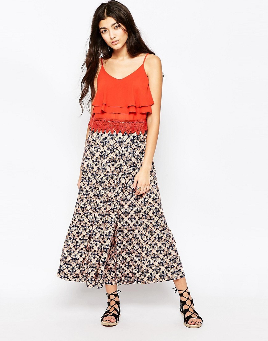 Swept Away Printed Culottes Swept Aw - style: palazzo; waist: mid/regular rise; secondary colour: ivory/cream; predominant colour: mid grey; occasions: casual; length: ankle length; fibres: viscose/rayon - 100%; fit: wide leg; pattern type: fabric; pattern: patterned/print; texture group: other - light to midweight; pattern size: light/subtle (bottom); multicoloured: multicoloured; season: s/s 2016; wardrobe: highlight