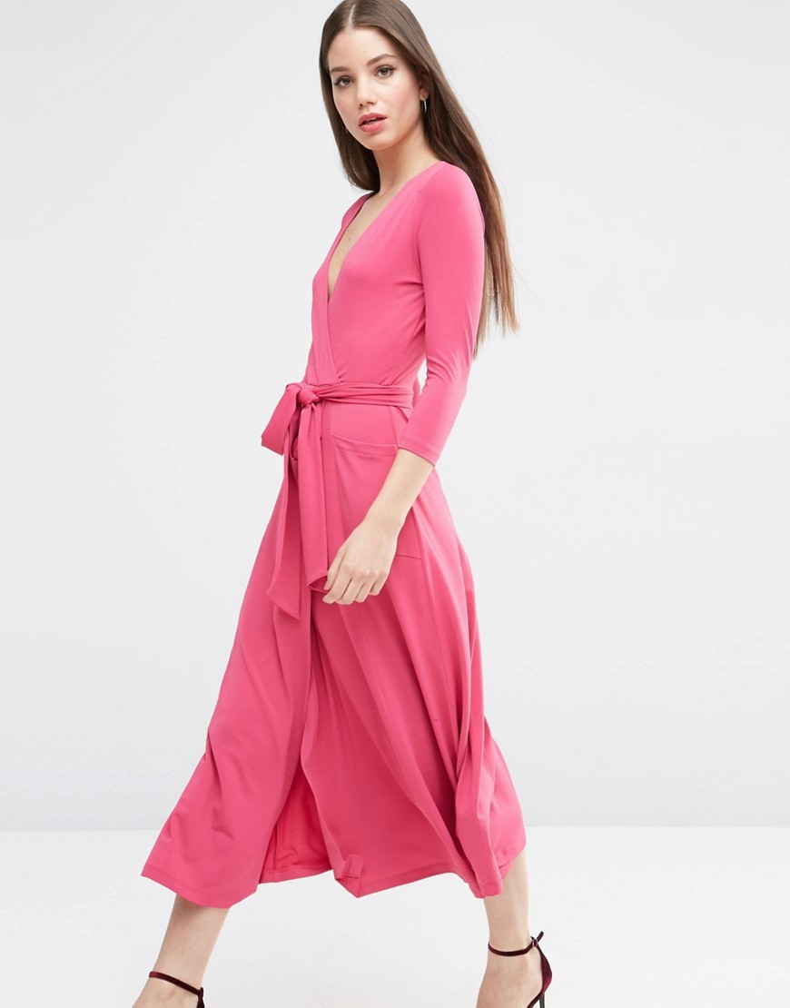 Crepe Wrap Midi Dress Raspberry - style: faux wrap/wrap; length: calf length; neckline: low v-neck; pattern: plain; waist detail: belted waist/tie at waist/drawstring; predominant colour: pink; occasions: evening; fit: body skimming; fibres: polyester/polyamide - stretch; sleeve length: 3/4 length; sleeve style: standard; pattern type: fabric; texture group: jersey - stretchy/drapey; season: s/s 2016; wardrobe: event