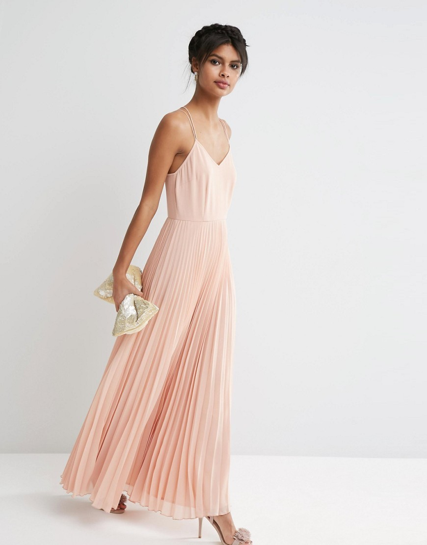 Woven Cami Maxi Dress With Pleated Skirt Nude - neckline: v-neck; sleeve style: spaghetti straps; pattern: plain; style: maxi dress; predominant colour: nude; occasions: evening; length: floor length; fit: body skimming; fibres: cotton - 100%; sleeve length: sleeveless; texture group: sheer fabrics/chiffon/organza etc.; pattern type: fabric; season: s/s 2016; wardrobe: event