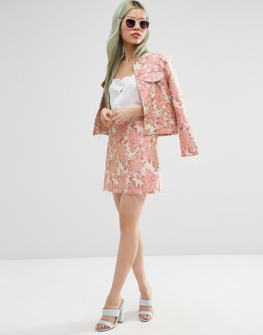 Jacquard A Line Mini Skirt With Raw Edge Co Ord Pink Jacquard - length: mini; fit: loose/voluminous; waist: high rise; predominant colour: pink; occasions: casual, creative work; style: a-line; fibres: polyester/polyamide - mix; pattern type: fabric; pattern: florals; texture group: brocade/jacquard; pattern size: big & busy (bottom); season: s/s 2016