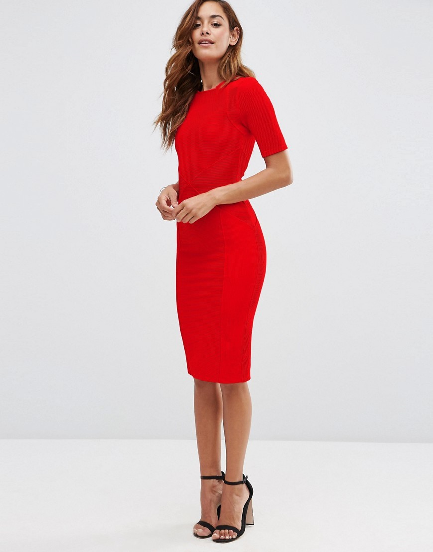Seamed Structured Rib Bodycon Dress Red - length: below the knee; fit: tight; pattern: plain; style: bodycon; predominant colour: true red; occasions: evening; fibres: polyester/polyamide - stretch; neckline: crew; sleeve length: short sleeve; sleeve style: standard; texture group: jersey - clingy; pattern type: fabric; season: s/s 2016; wardrobe: event