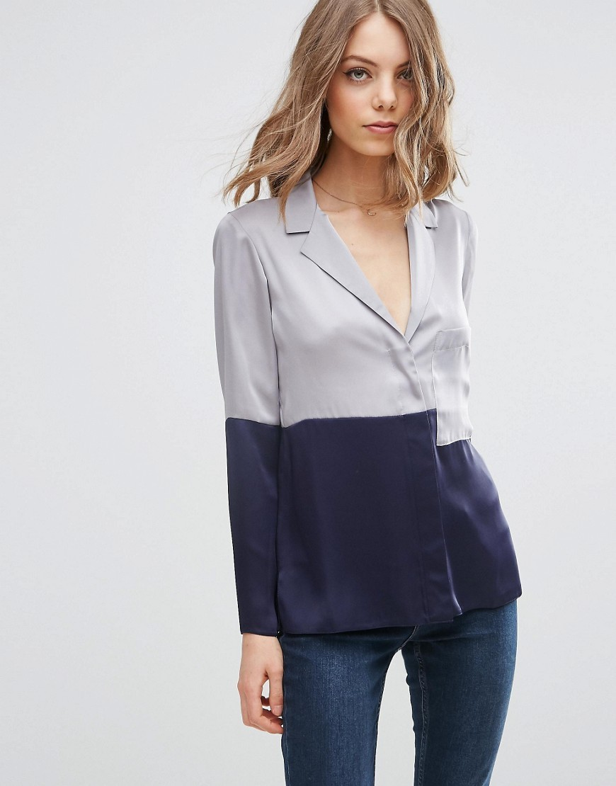 Colour Block Satin Pyjama Blouse Grey - neckline: shirt collar/peter pan/zip with opening; style: shirt; secondary colour: navy; predominant colour: light grey; occasions: casual; length: standard; fibres: polyester/polyamide - 100%; fit: body skimming; sleeve length: long sleeve; sleeve style: standard; texture group: structured shiny - satin/tafetta/silk etc.; pattern type: fabric; pattern: colourblock; season: s/s 2016