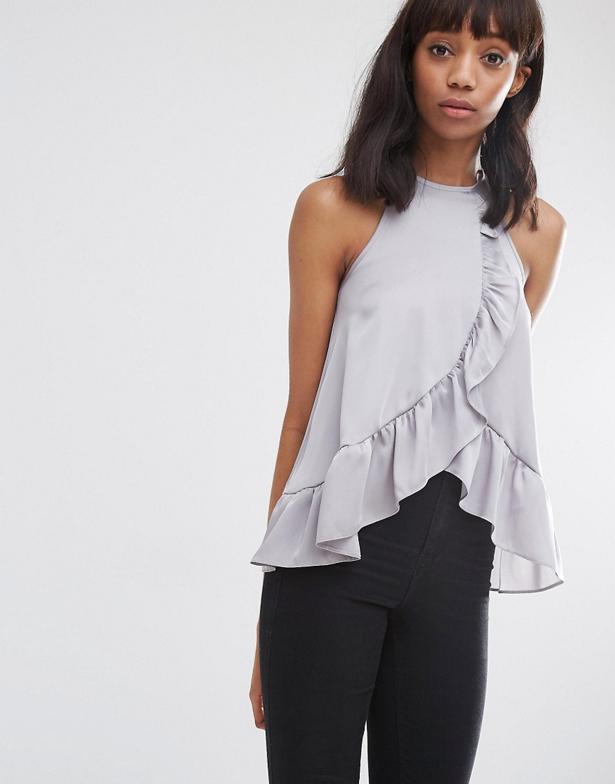 High Neck Ruffle Front Satin Cami Top Grey - pattern: plain; sleeve style: sleeveless; predominant colour: light grey; occasions: casual; length: standard; style: top; fibres: polyester/polyamide - 100%; fit: body skimming; sleeve length: sleeveless; bust detail: bulky details at bust; pattern type: fabric; texture group: other - light to midweight; season: s/s 2016; neckline: high halter neck; wardrobe: highlight