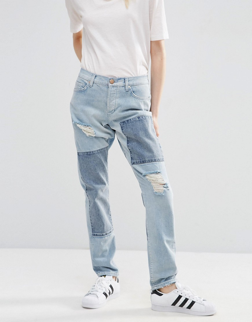 Brady Low Rise Patchwork Boyfriend Jeans In Light Wash Blue Lightwash Blue - style: boyfriend; length: standard; pattern: plain; pocket detail: traditional 5 pocket; waist: mid/regular rise; predominant colour: pale blue; occasions: casual; fibres: cotton - 100%; jeans detail: washed/faded, rips; texture group: denim; pattern type: fabric; season: s/s 2016; wardrobe: basic