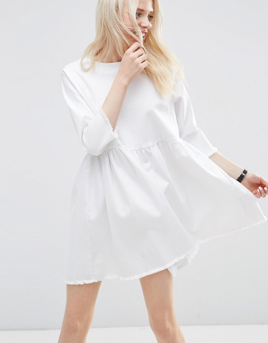 Denim Smock Dress In White With Raw Hem White - style: smock; length: mid thigh; fit: loose; pattern: plain; predominant colour: white; occasions: casual, creative work; fibres: cotton - 100%; neckline: crew; sleeve length: 3/4 length; sleeve style: standard; texture group: denim; pattern type: fabric; season: s/s 2016; wardrobe: basic