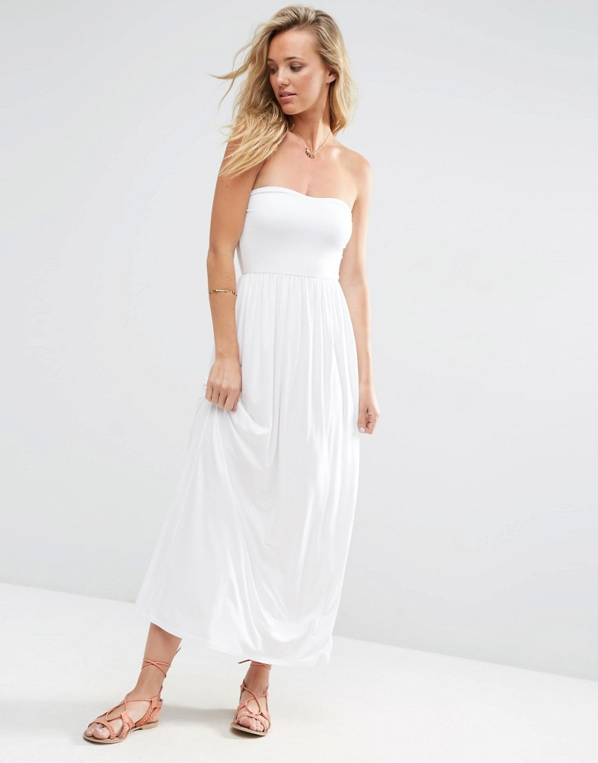 Bandeau Maxi Dress White - neckline: strapless (straight/sweetheart); pattern: plain; style: maxi dress; sleeve style: strapless; length: ankle length; predominant colour: white; occasions: casual, holiday; fit: body skimming; fibres: viscose/rayon - stretch; sleeve length: sleeveless; pattern type: fabric; texture group: jersey - stretchy/drapey; season: s/s 2016; wardrobe: basic