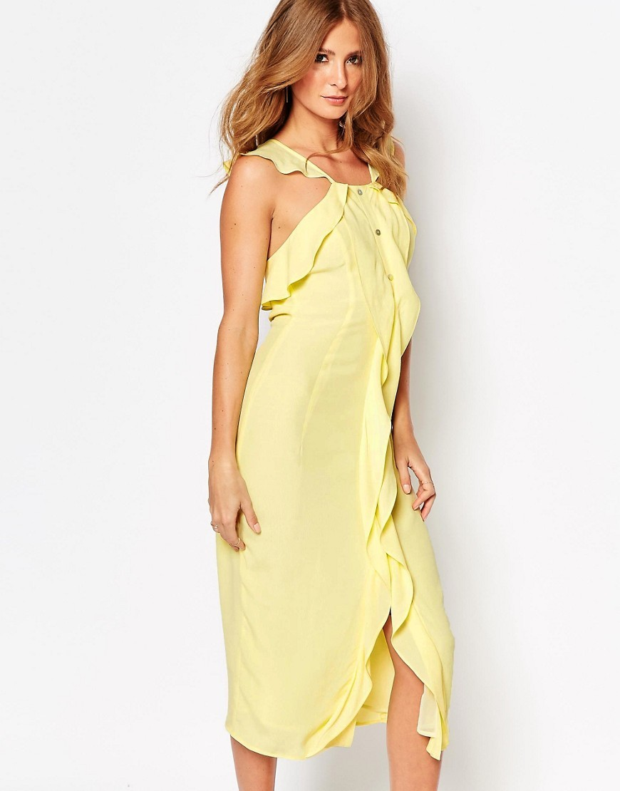 Midi Dress With Ruffle Front And Buttons Lemon - style: shift; length: below the knee; pattern: plain; sleeve style: sleeveless; predominant colour: primrose yellow; occasions: evening; fit: body skimming; fibres: viscose/rayon - 100%; sleeve length: sleeveless; bust detail: tiers/frills/bulky drapes/pleats; pattern type: fabric; texture group: jersey - stretchy/drapey; season: s/s 2016; neckline: high halter neck