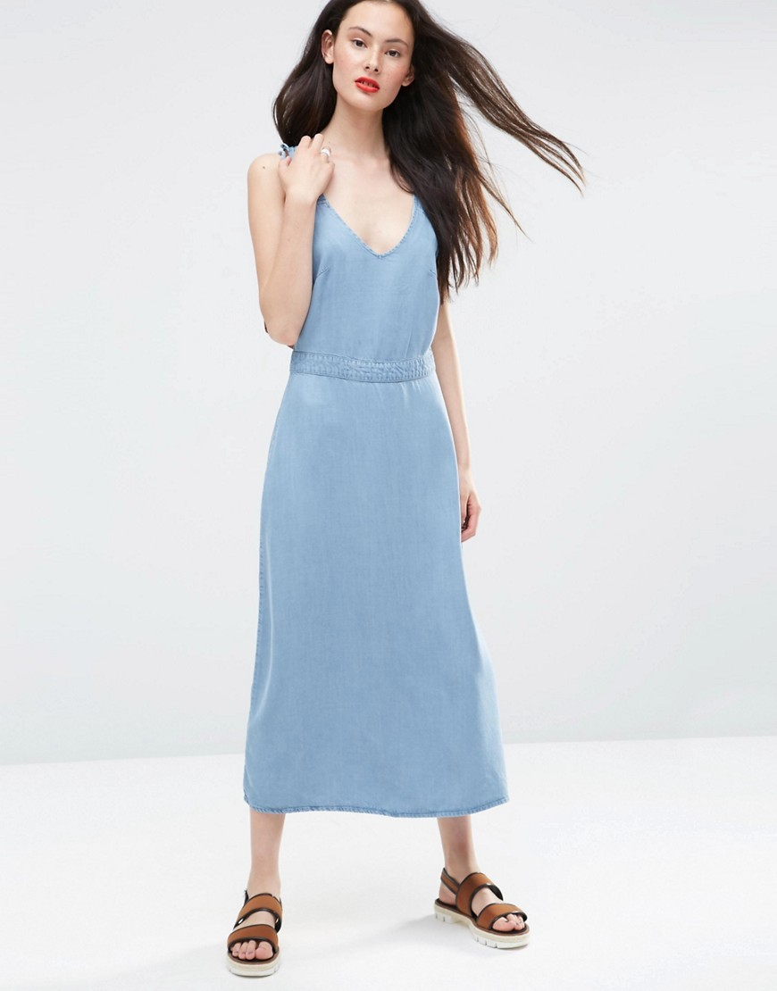 Denim Waisted Midi Dress With Frill Straps In Light Wash Blue Lightwash Blue - style: shift; length: calf length; neckline: low v-neck; pattern: plain; sleeve style: sleeveless; predominant colour: pale blue; occasions: evening; fit: body skimming; fibres: viscose/rayon - 100%; sleeve length: sleeveless; pattern type: fabric; texture group: jersey - stretchy/drapey; season: s/s 2016; wardrobe: event