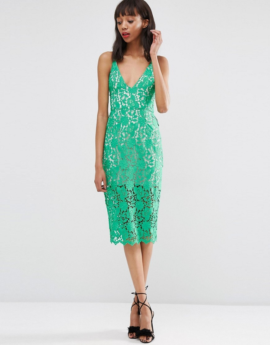 Lace Hitchcock Midi Pencil Dress Green - style: shift; length: below the knee; neckline: low v-neck; fit: tailored/fitted; pattern: plain; sleeve style: sleeveless; predominant colour: emerald green; occasions: evening; fibres: polyester/polyamide - 100%; sleeve length: sleeveless; texture group: lace; pattern type: fabric; season: s/s 2016; wardrobe: event