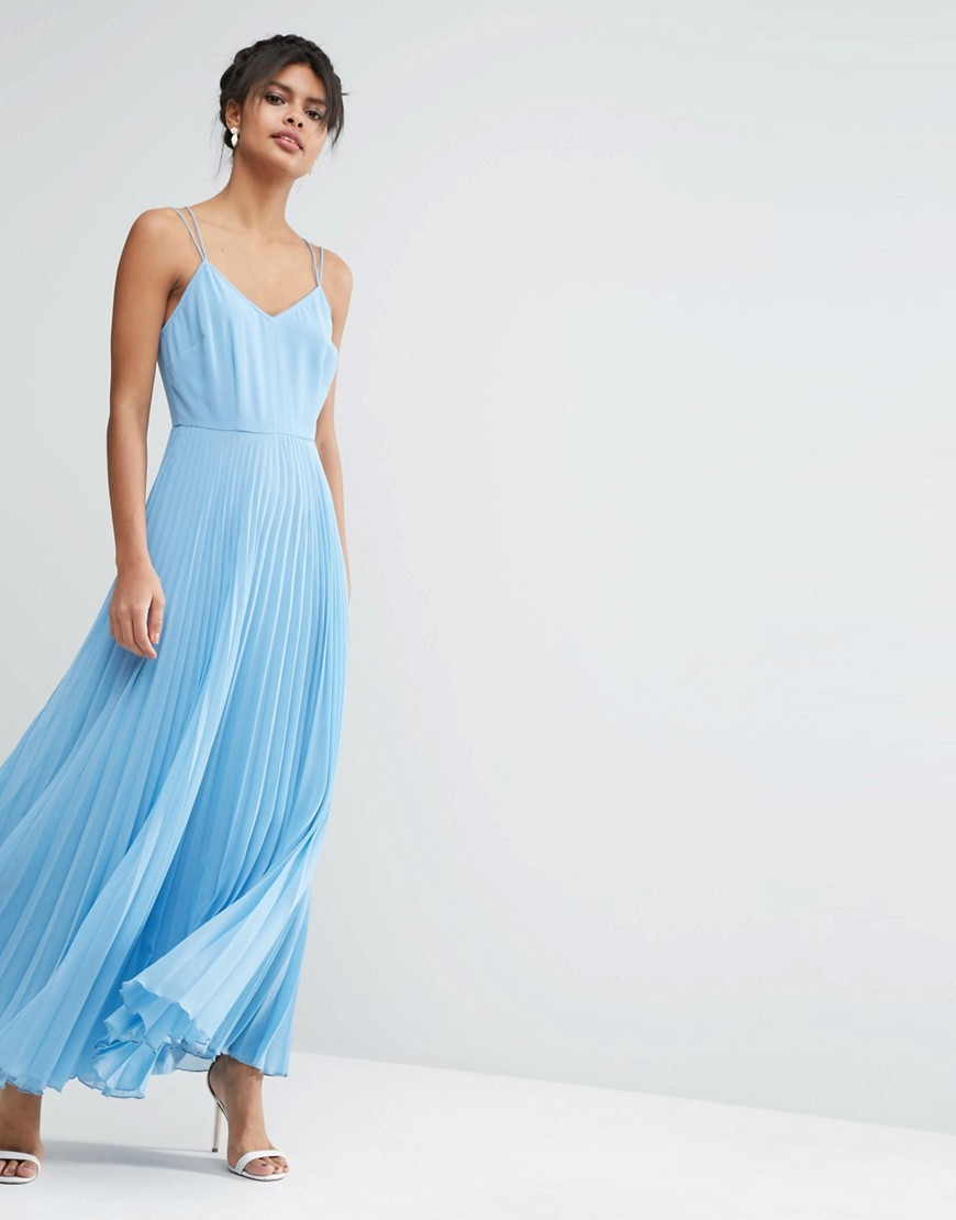 Woven Cami Maxi Dress With Pleated Skirt Pale Blue - neckline: low v-neck; sleeve style: spaghetti straps; pattern: plain; style: maxi dress; length: ankle length; predominant colour: pale blue; occasions: evening; fit: body skimming; fibres: cotton - 100%; sleeve length: sleeveless; texture group: sheer fabrics/chiffon/organza etc.; pattern type: fabric; season: s/s 2016; wardrobe: event