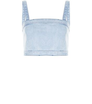 Pale Blue Denim Bralet - pattern: plain; sleeve style: sleeveless; bust detail: added detail/embellishment at bust; length: cropped; predominant colour: pale blue; occasions: casual; fibres: cotton - mix; fit: body skimming; sleeve length: sleeveless; texture group: denim; neckline: medium square neck; pattern type: fabric; style: bandeau/bralet; season: s/s 2016